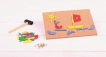 Dřevěné hračky Bigjigs Toys Kreativní deska přibíjení tvarů