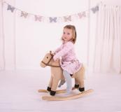 Dřevěné hračky Bigjigs Toys Dřevěný houpací kůň béžový
