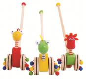 Dřevěné hračky Bigjigs Toys tahací hračky - Jezdík dinosauři