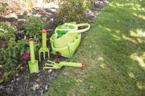 Dřevěné hračky Bigjigs Toys Zahradní set nářadí v plátěné tašce zelený