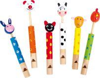 Dětská dřevěná píšťalka zvířátka 1ks  bílá