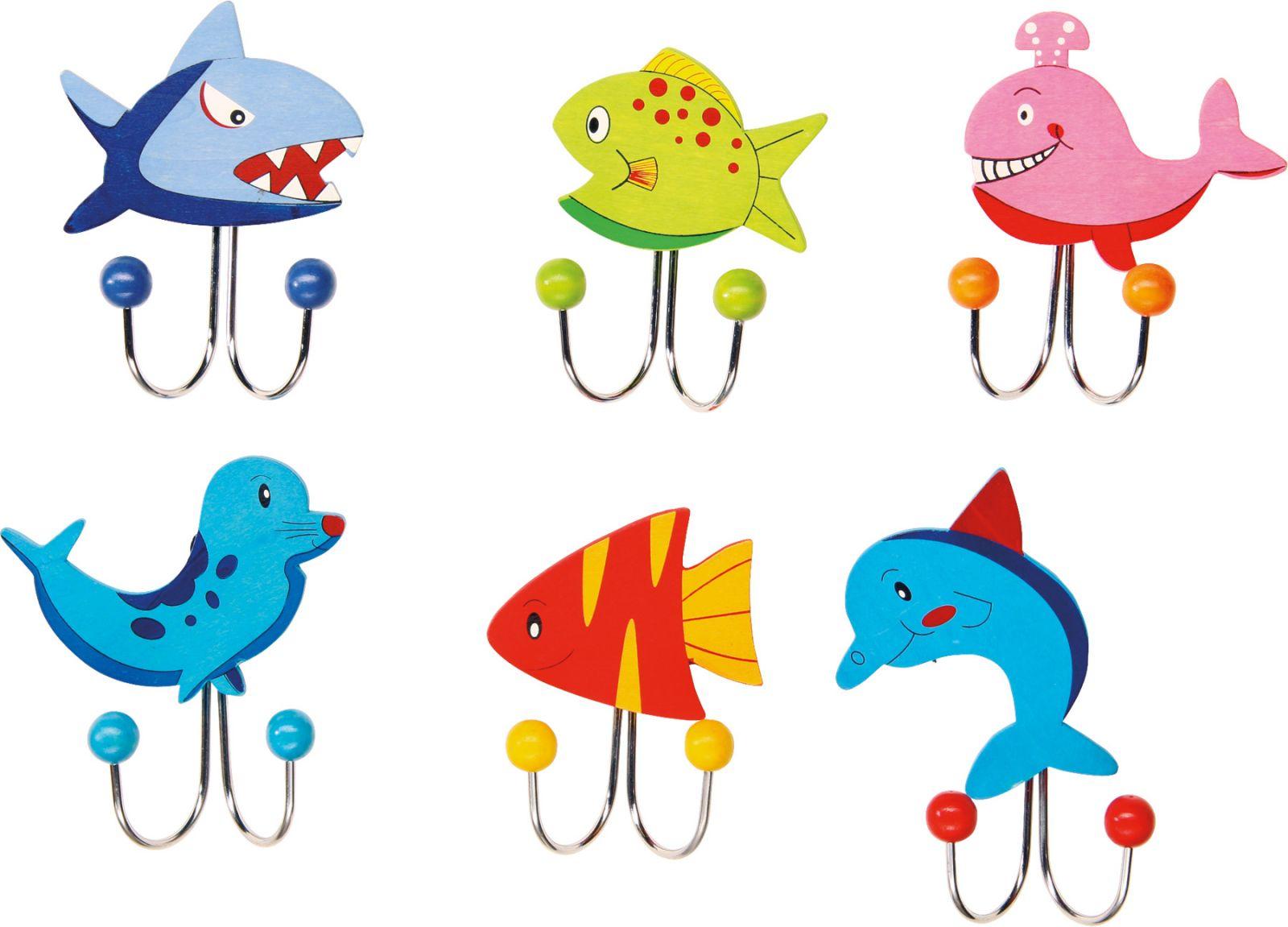 Dřevěné hračky Věšák - Mořská zvířátka 1ks růžová ryba Small foot by Legler
