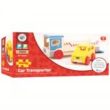 Dřevěné hračky Bigjigs Toys dřevěné odtahové auto s osobním autem