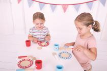 Dřevěné hračky Bigjigs Toys Dřevěný jídelní servis s puntíky