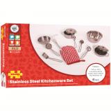 Dřevěné hračky Bigjigs Toys Set kovového nádobí