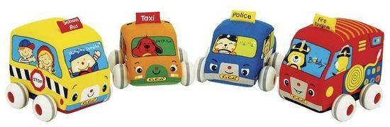 Dřevěné hračky Látková auta s natahovacím pohonem 1ks oranžová K´s Kids