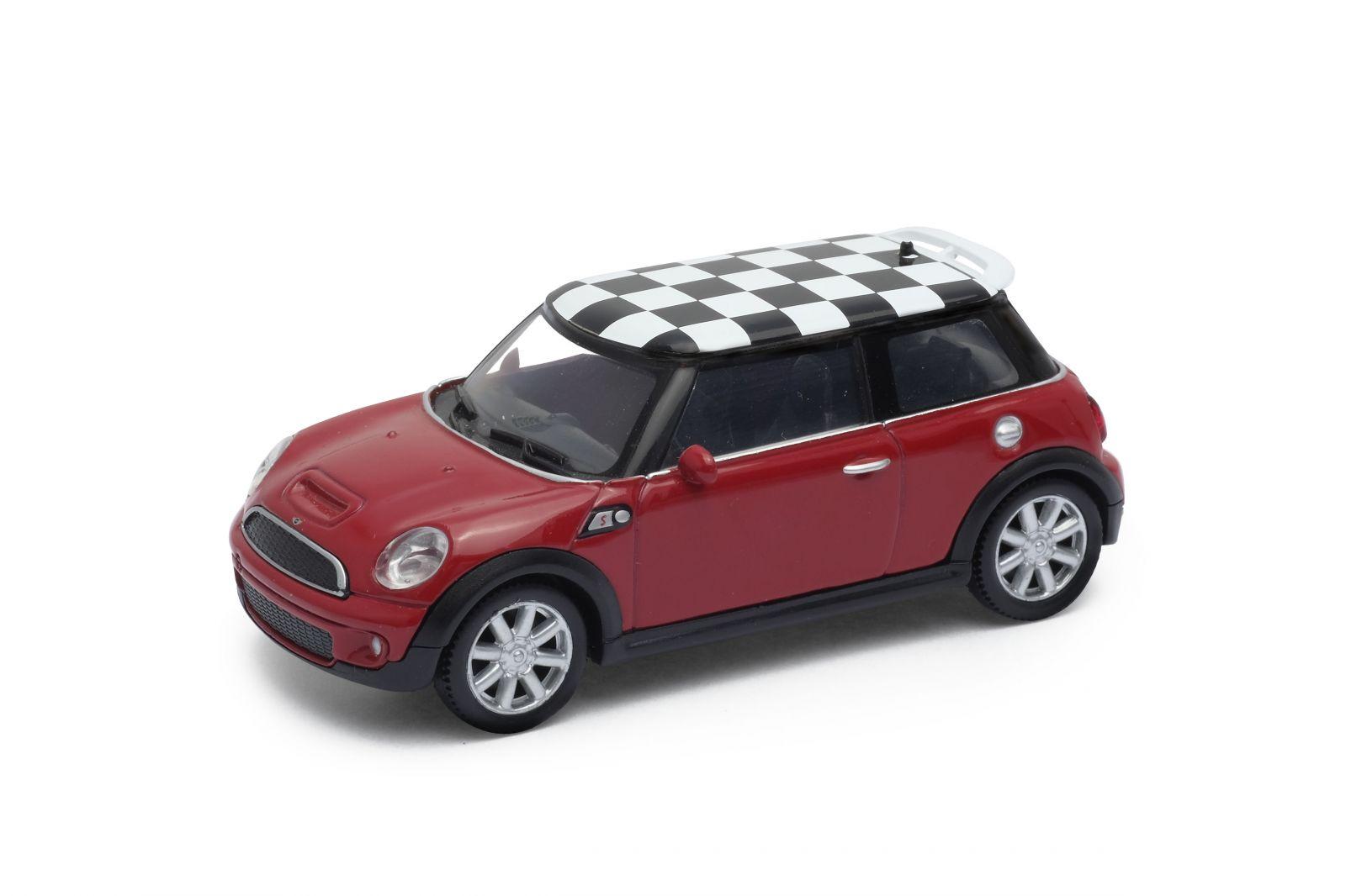 Dřevěné hračky Welly - Mini Cooper S (šachovnice) model 1:43 červený