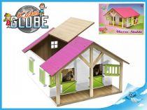 Dřevěná stáj pro koně s odjímatelnou střechou růžová
