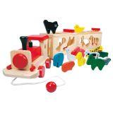 Dřevěné hračky Bino Dřevěný vlak se zvířátky zoo
