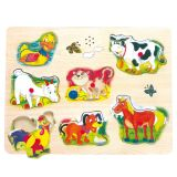 Dřevěné hračky Dřevěné hračky - Hrací puzzle na desce - zvířecí hlasy Bino
