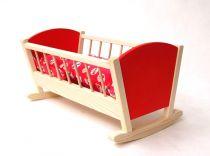 Dřevěné hračky pro holky - Kolébka pro panenky barevná