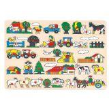 Dřevěné hračky Bino Dřevěné vkládací puzzle statek velké