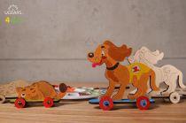 Ugears Dřevěná stavebnice 3D Puzzle Kočka a pejsek