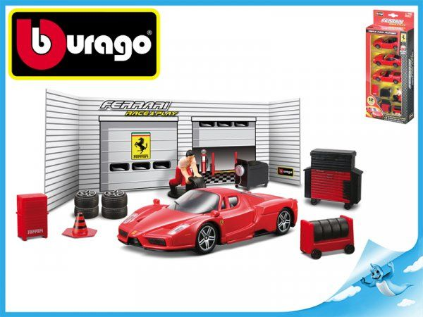 Dřevěné hračky Bburago Race & Play Ferrari sada pneuservis Ferrari model 1:43