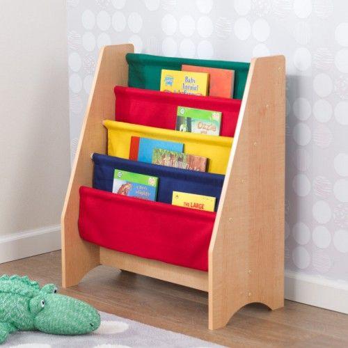 Dřevěné hračky KidKraft Knihovna s látkovými policemi barevná