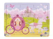 Bigjigs Toys Dřevěné puzzle princezna s kočárem