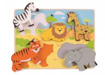 Dřevěné hračky Bigjigs Toys Vkládací puzzle safari