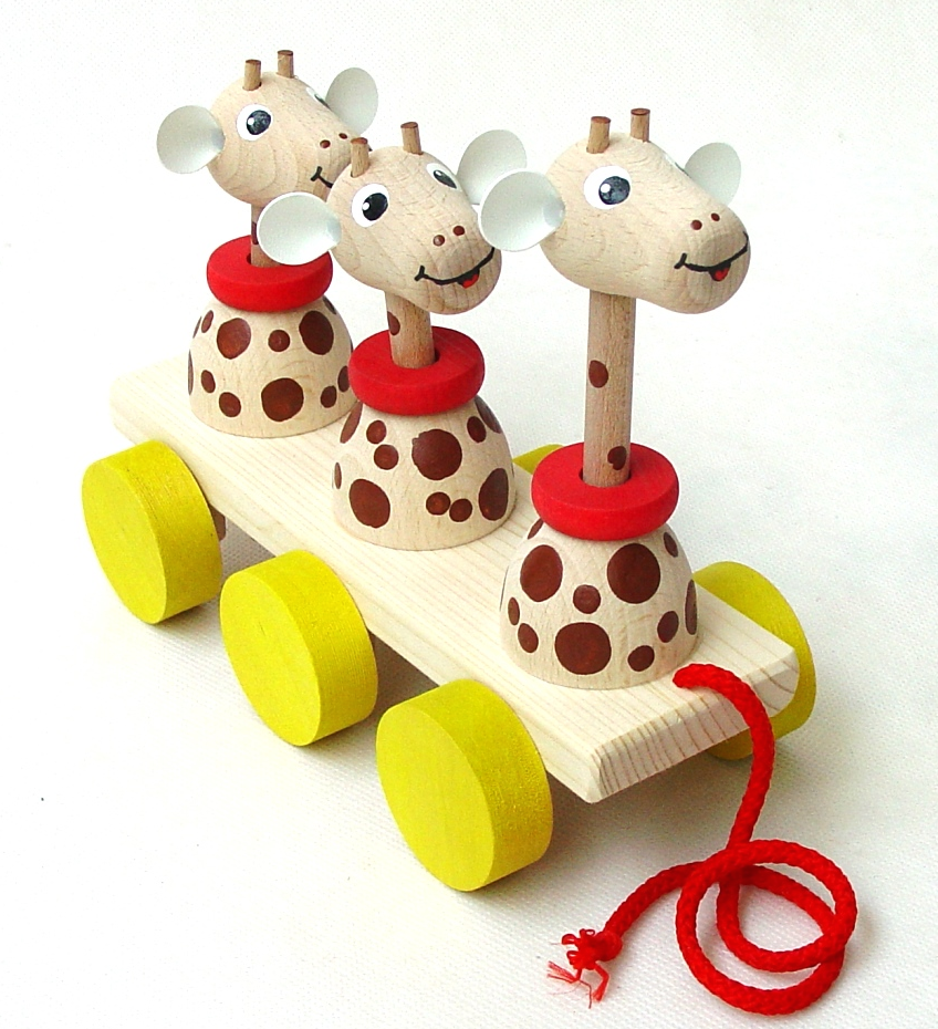 Dřevěné hračky Tahací hračky na liště – ŽIRAFY Česká dřevěná hračka