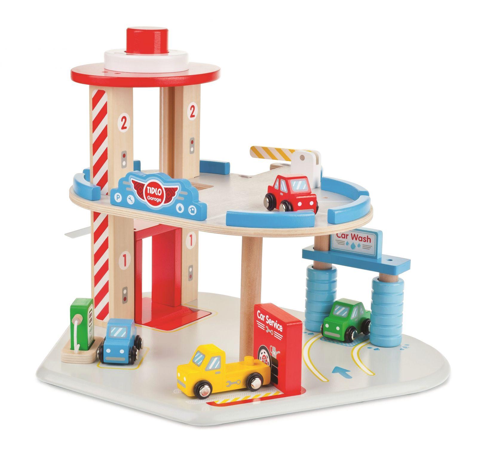 Dřevěné hračky Tidlo Dřevěná garáž