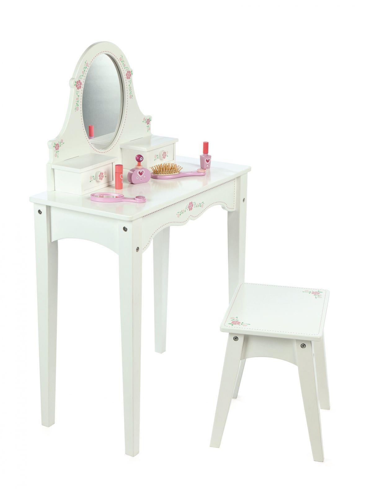 Dřevěné hračky Tidlo Dřevěný kosmetický stoleček bílý