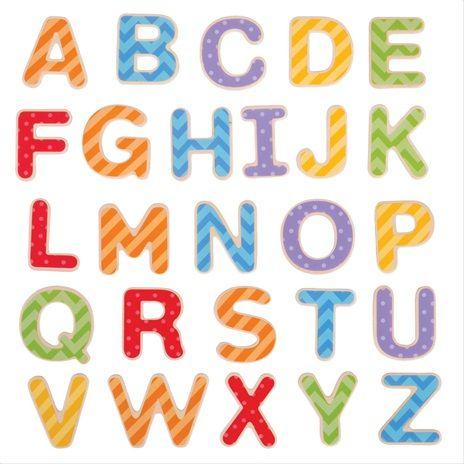 Dřevěné hračky Bigjigs Toys Magnetická barevná abeceda (velká písmena)
