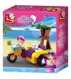 Dřevěné hračky Sluban Girls Dream Holidays M38-B0600C Motocykl s postranním vozíkem