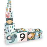 Dřevěné hračky Vilac Skládací kostky zvířátka s čísly