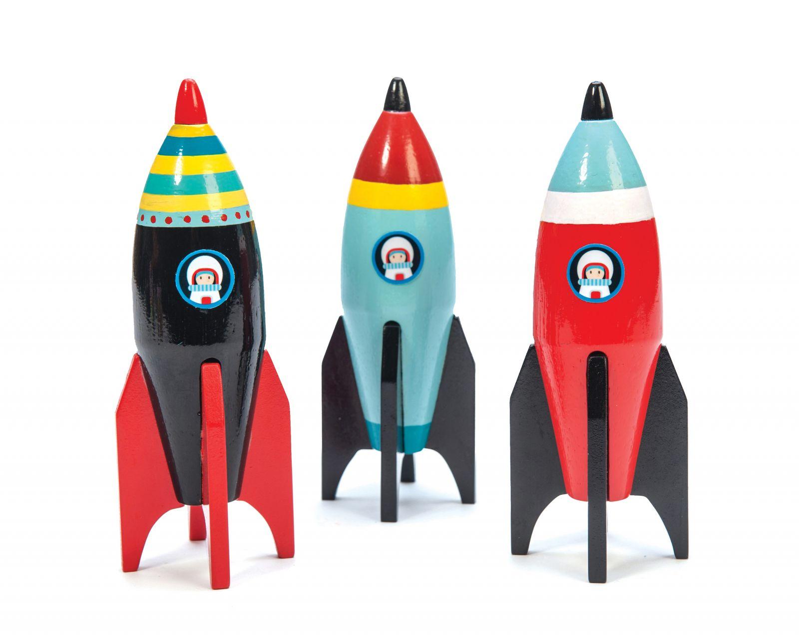 Dřevěné hračky Le Toy Van Barevná raketa 1ks