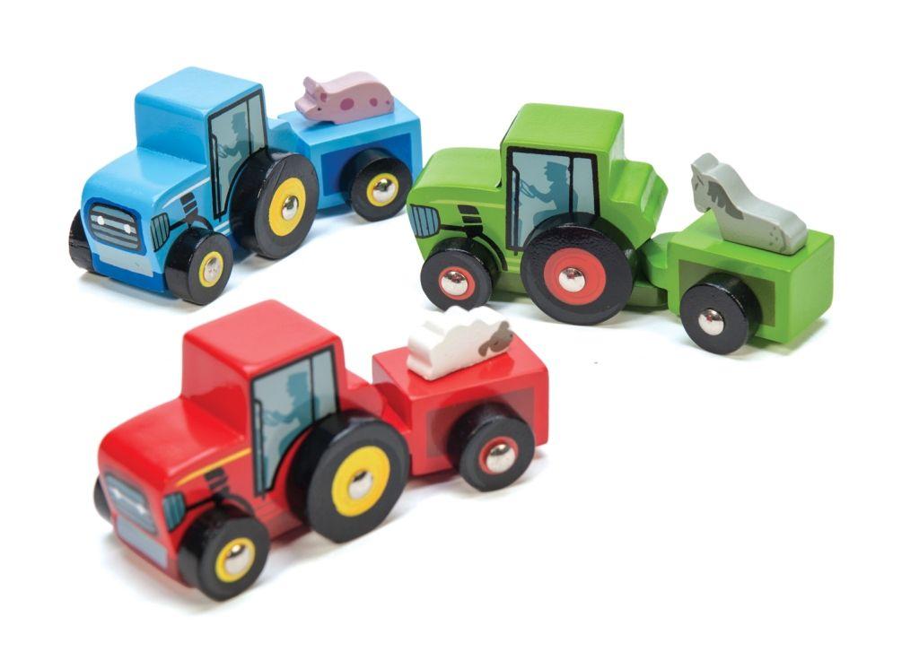 Dřevěné hračky Le Toy Van barevný traktor 1 ks modrá