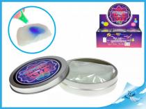 Chytrá hmota v plechovce měnící barvu pod UV světlem s UV klíčenkou modrá