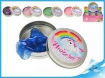 Chytrá hmota v plechovce se třpytkami Unicorn modrá