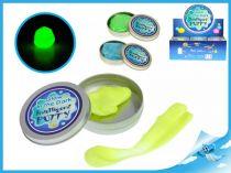 Chytrá hmota v plechovce svítící ve tmě zelená