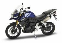 Dřevěné hračky Welly - Motocykl Triumph Tiger Explorer model 1:18 modrý