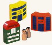 Dřevěné hračky - Příslušenství k dráze - město - 5 ks
