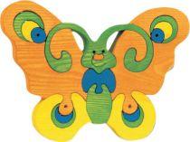 Fauna Dřevěné vkládací puzzle z masivu velký motýl oranžový
