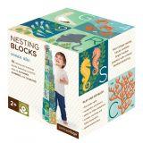 Dřevěné hračky Petitcollage Věž z 1-2-3 kostek s možskými živočichy