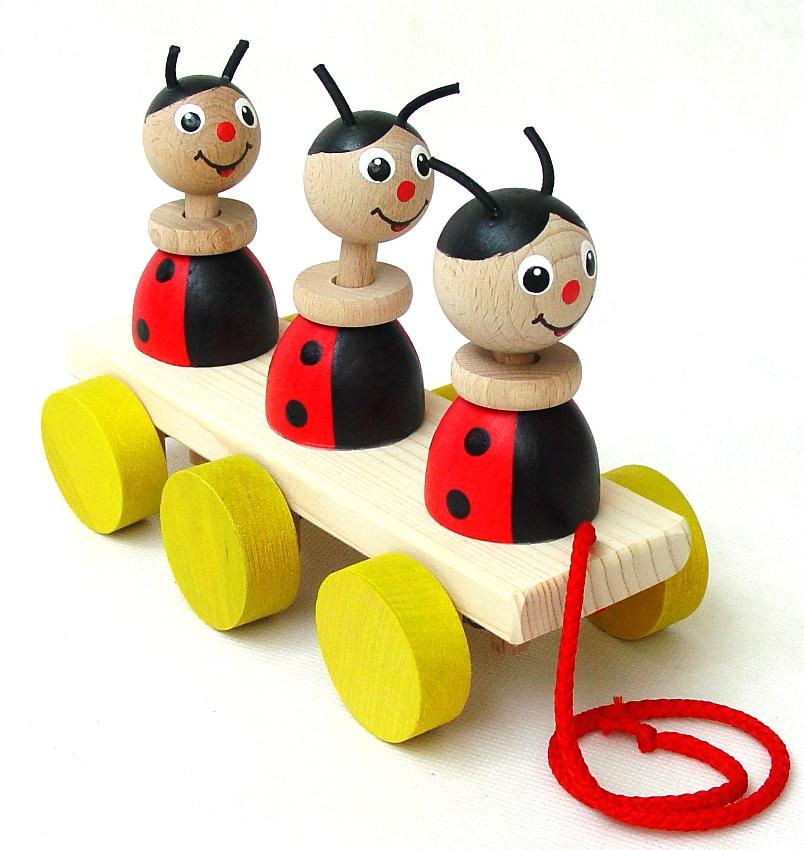 Dřevěné hračky Tahací hračky na liště – BERUŠKY Česká dřevěná hračka