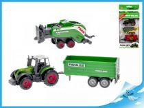 Kovový traktor s 2 vlečkami