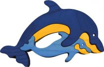 Dřevěné vkládací puzzle z masivu Delfínci