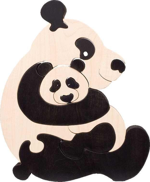 Dřevěné hračky Fauna Dřevěné vkládací puzzle z masivu pandy