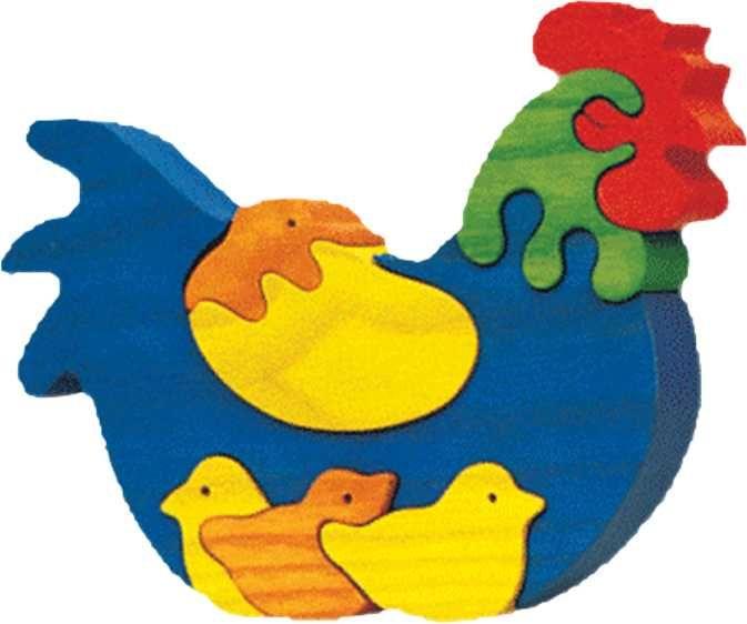 Dřevěné hračky Fauna Dřevěné vkládací puzzle z masivu slepička s kuřátky