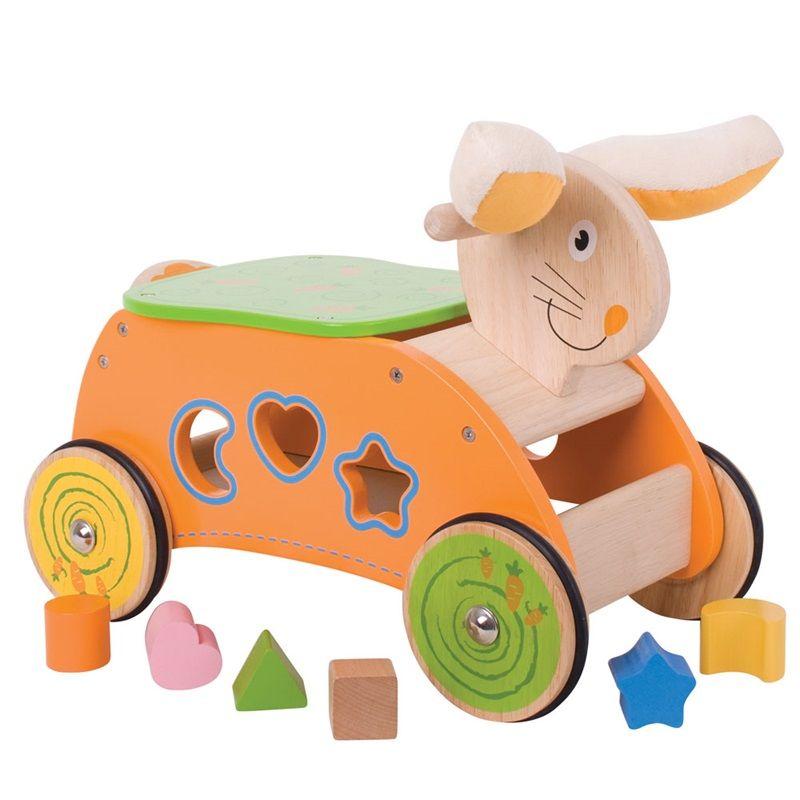 Dřevěné hračky Bigjigs Baby Dřevěný motorický vozík zajíc Bigjigs Toys