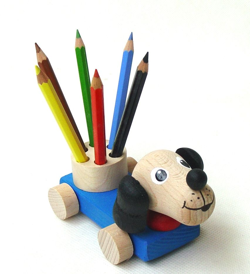 Dřevěné hračky Ceeda Cavity - Dřevěný stojánek na tužky pro děti - Pes
