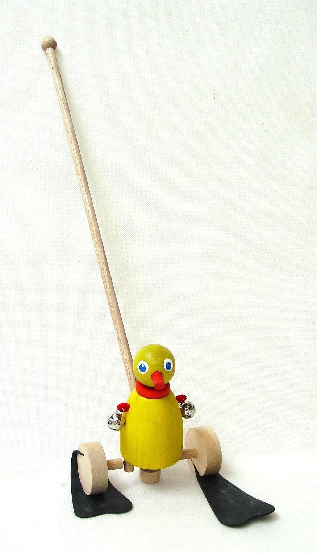 Dřevěné hračky Dřevěné hračky - Kačenka plácačka s rolničkou na tyči Ceeda Cavity