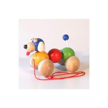 Dřevěné hračky Dřevěné hračky - Tahací hračka vrtík - pes duhový Ceeda Cavity