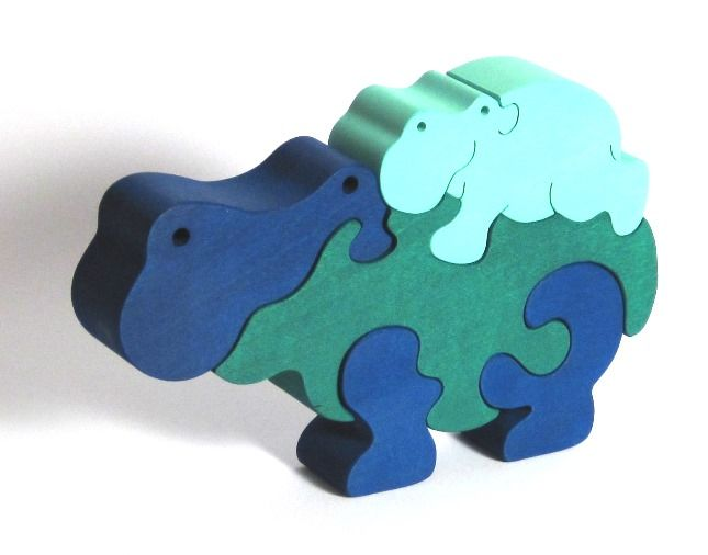 Dřevěné hračky Fauna Dřevěné vkládací puzzle z masivu hroch modrý