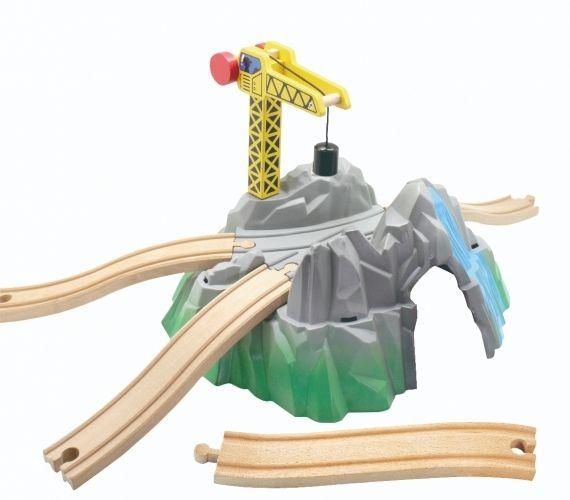 Dřevěné hračky Velký horský tunel s jeřábem Maxim