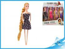 Panenka kloubová  s dlouhými vlasy fialovobílé šaty