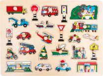 Small Foot Dřevěné vkládací puzzle velké město