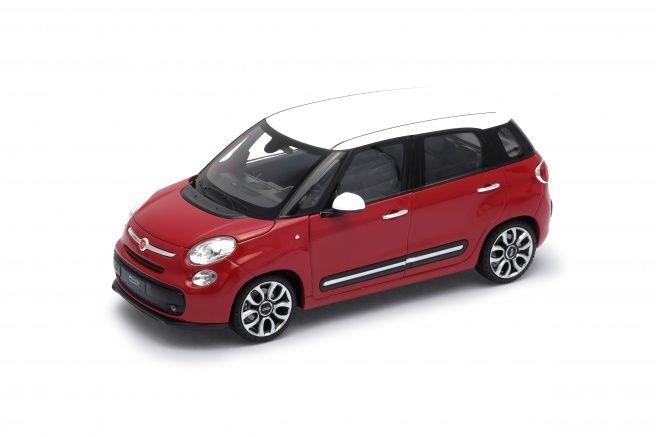 Dřevěné hračky Welly Fiat 500L model 1:24 červený